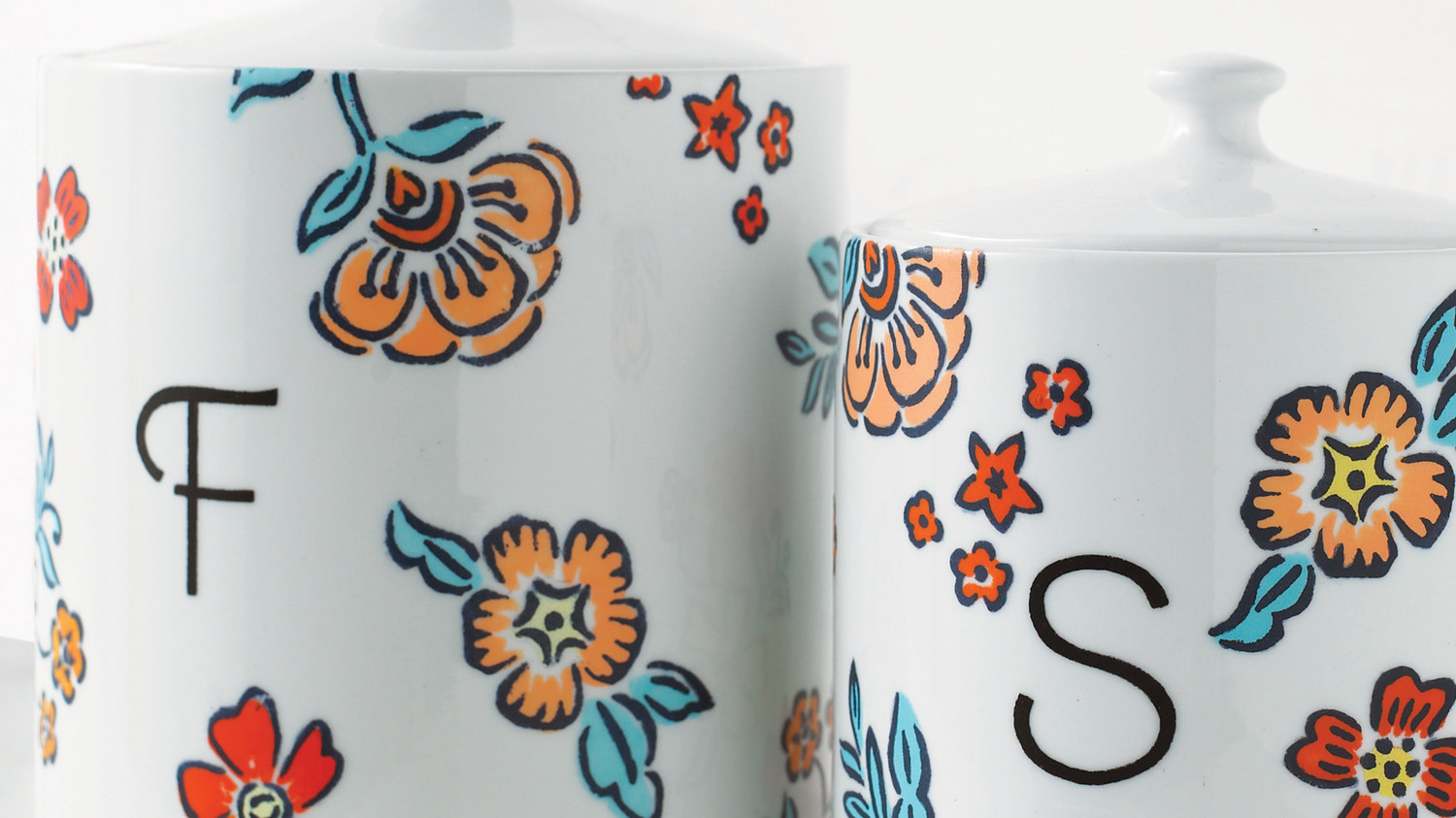 Monogrammed & Floral-Stenciled Canisters