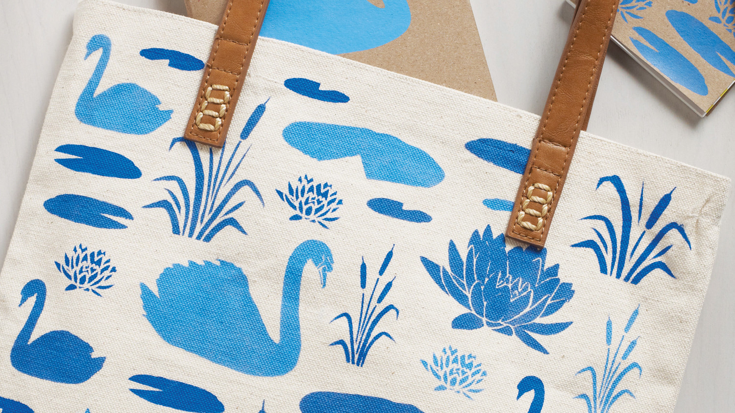 Swan Stenciled Tote Bag and Notebooks