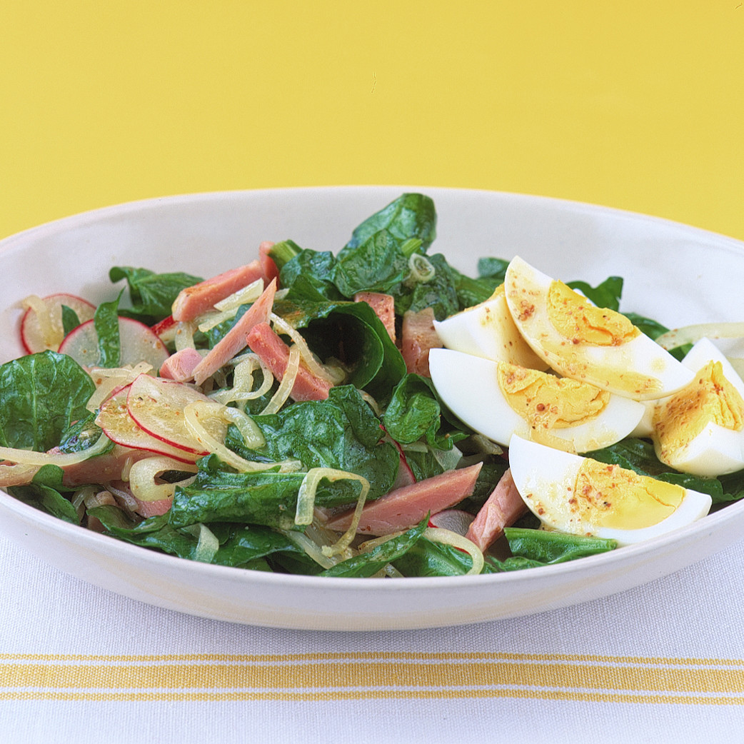 Ham Eggs spinach salad with ham and egg