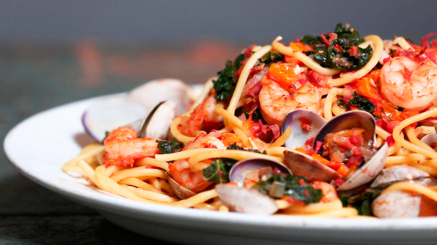 Emeril S Shrimp Clams Kale And Pasta Recipe Amp Video