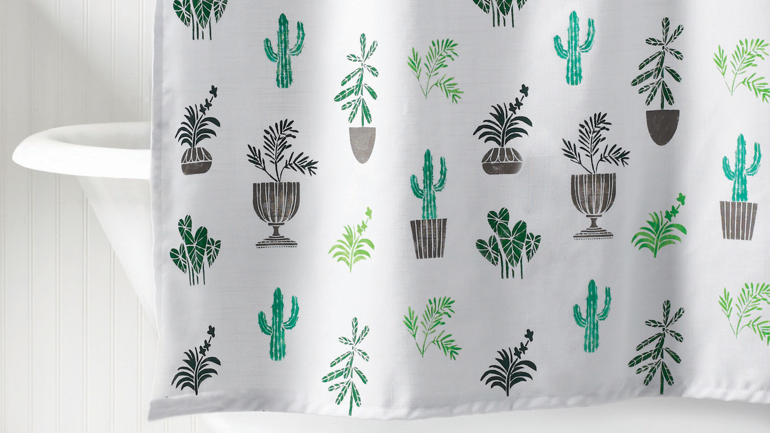 Plants-and-Cacti Stenciled Shower Curtain