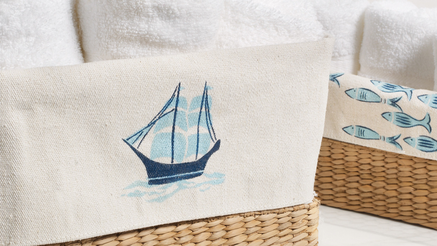 Nautical-Stenciled Storage Baskets