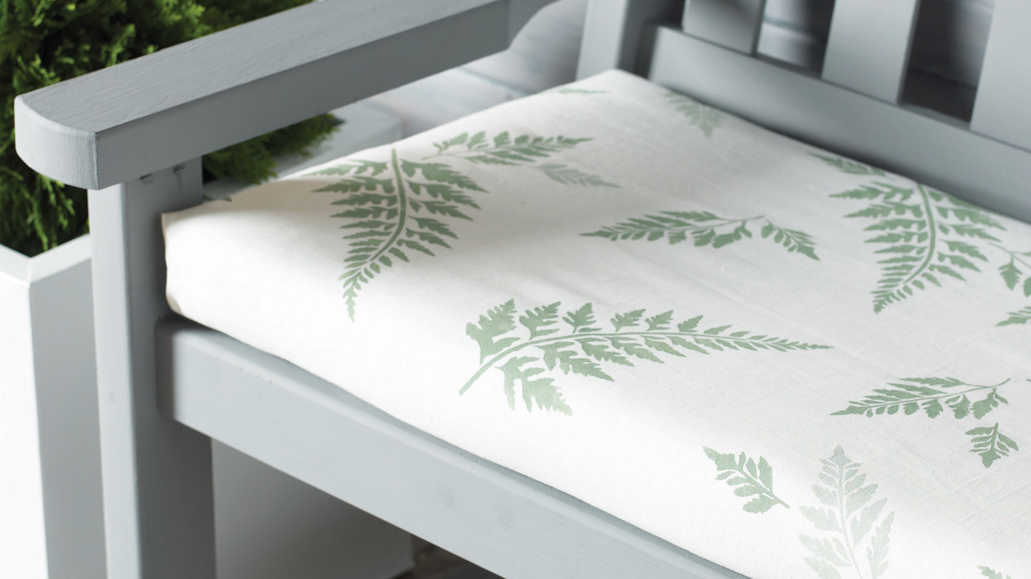 Fern-Stenciled Outdoor Seat Cushion