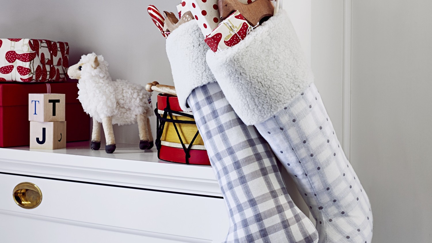 Plaid Christmas Stockings with Shearling Cuff