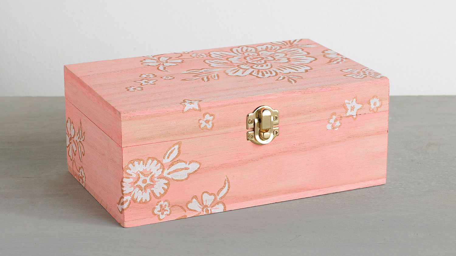 Floral-Stenciled Keepsake Box