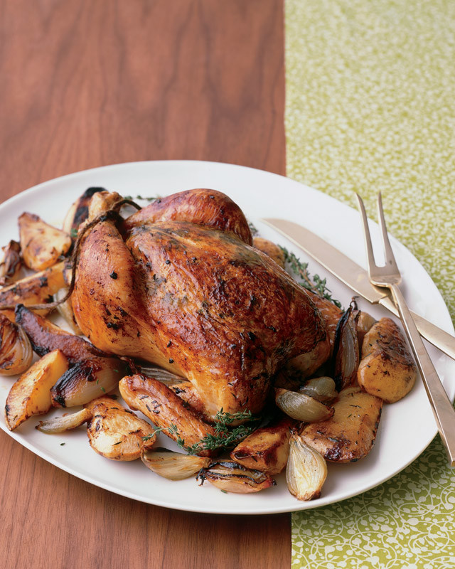 Whole Roasted Chicken With Pear Shallots And Thyme
