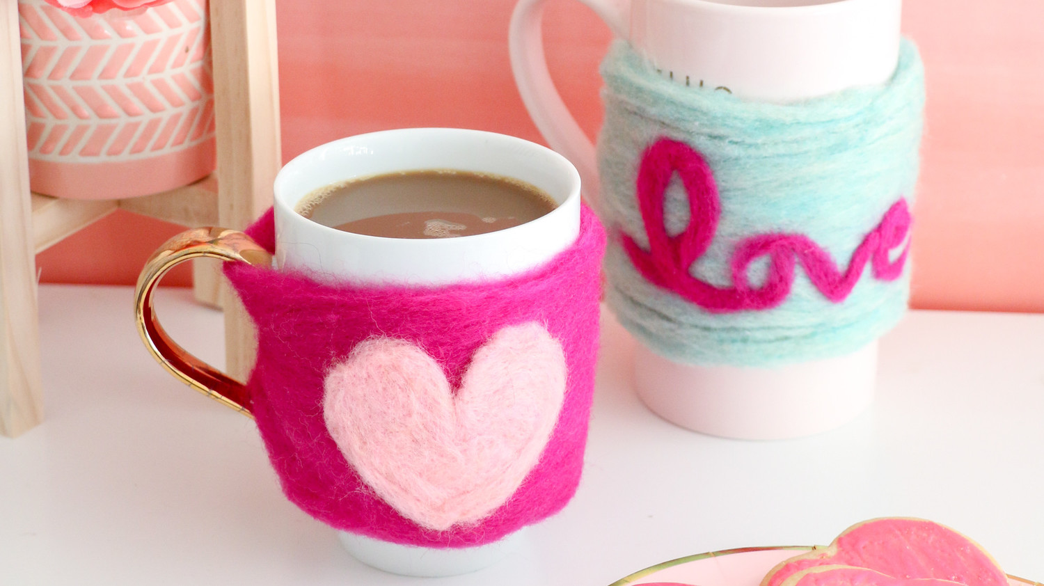 Needle-Felted Heart Mug Cozy
