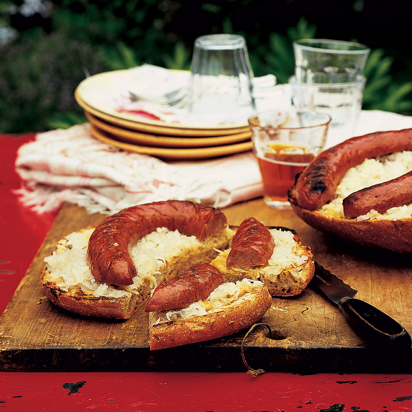 Grilled Kielbasa Ring With Sauerkraut