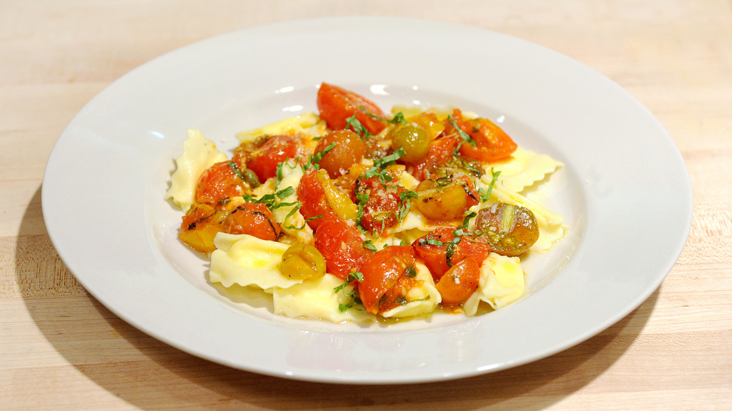 Ricotta Raviolini With Melted Tomatoes Recipe — Dishmaps