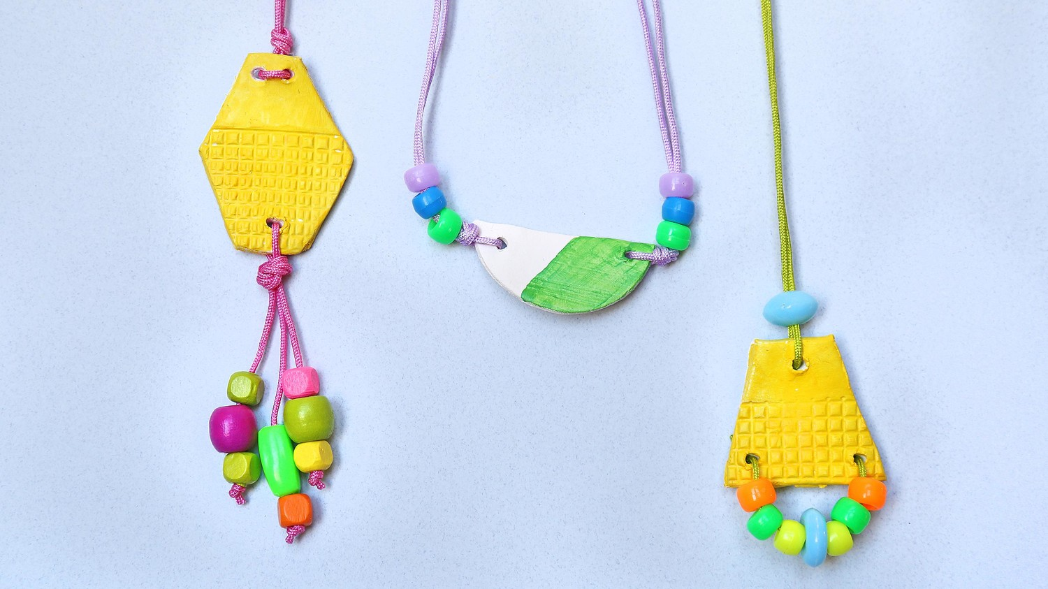 Kids craft air dry pendant necklaces martha stewart aloadofball Image collections