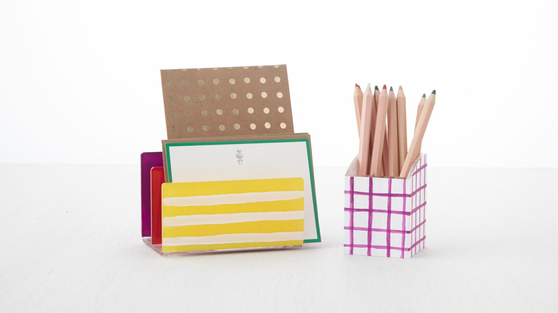 Diys to spruce up your school supplies martha stewart - Martha stewart desk organizer ...