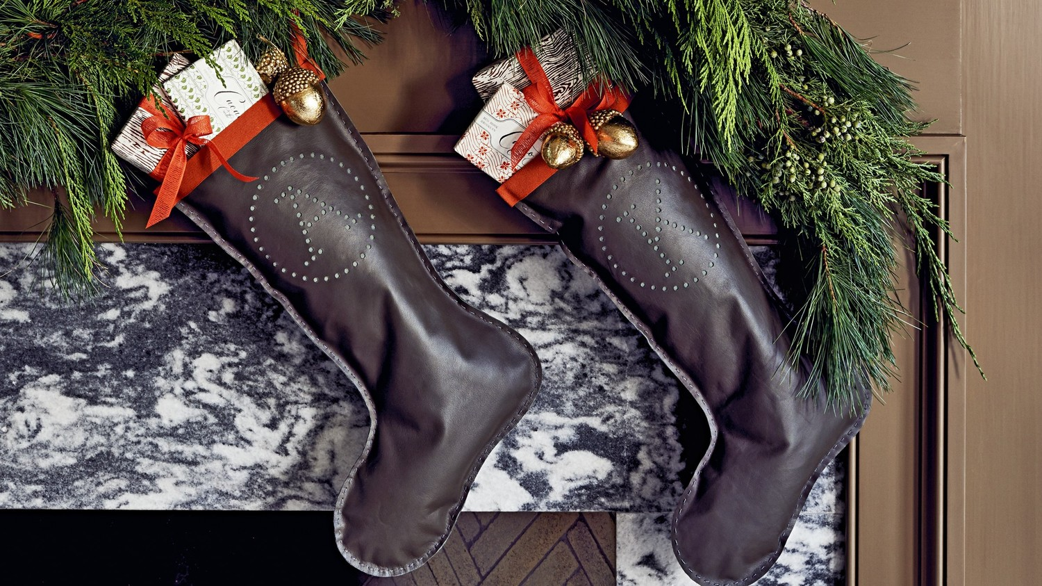 Monogrammed Leather Christmas Stockings