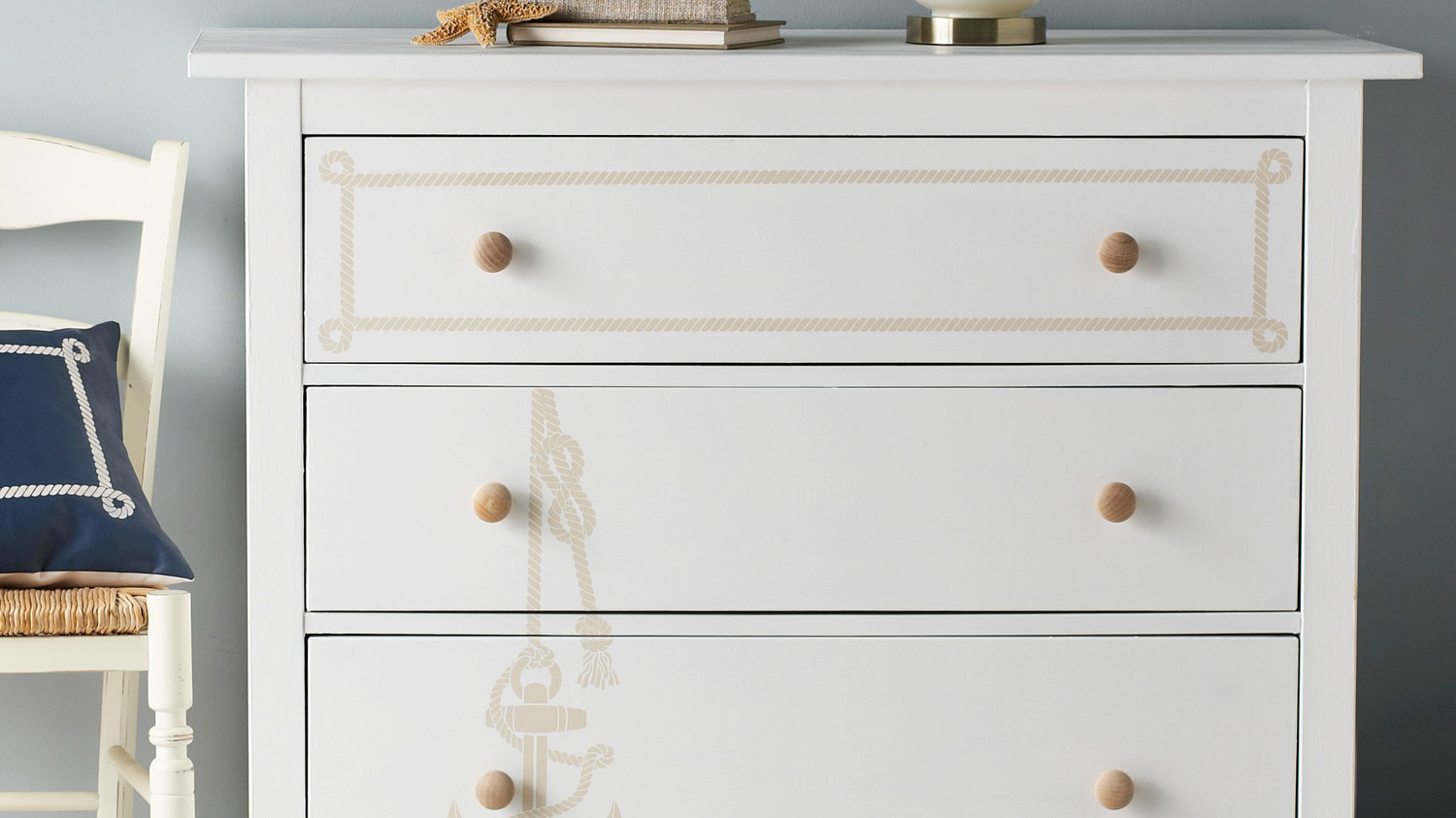 Nautical Stenciled Dresser
