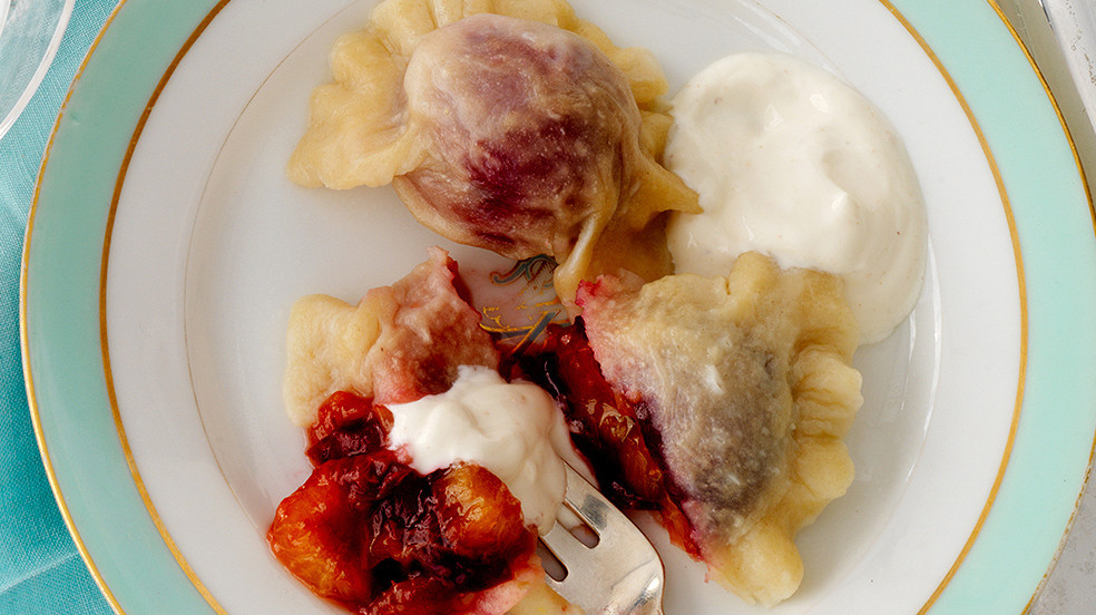 Pierogi With Italian Plum Filling And Spiced Sour Cream