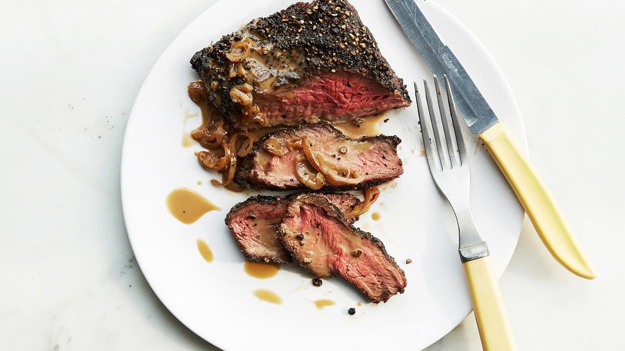 Flat Iron Steak Au Poivre