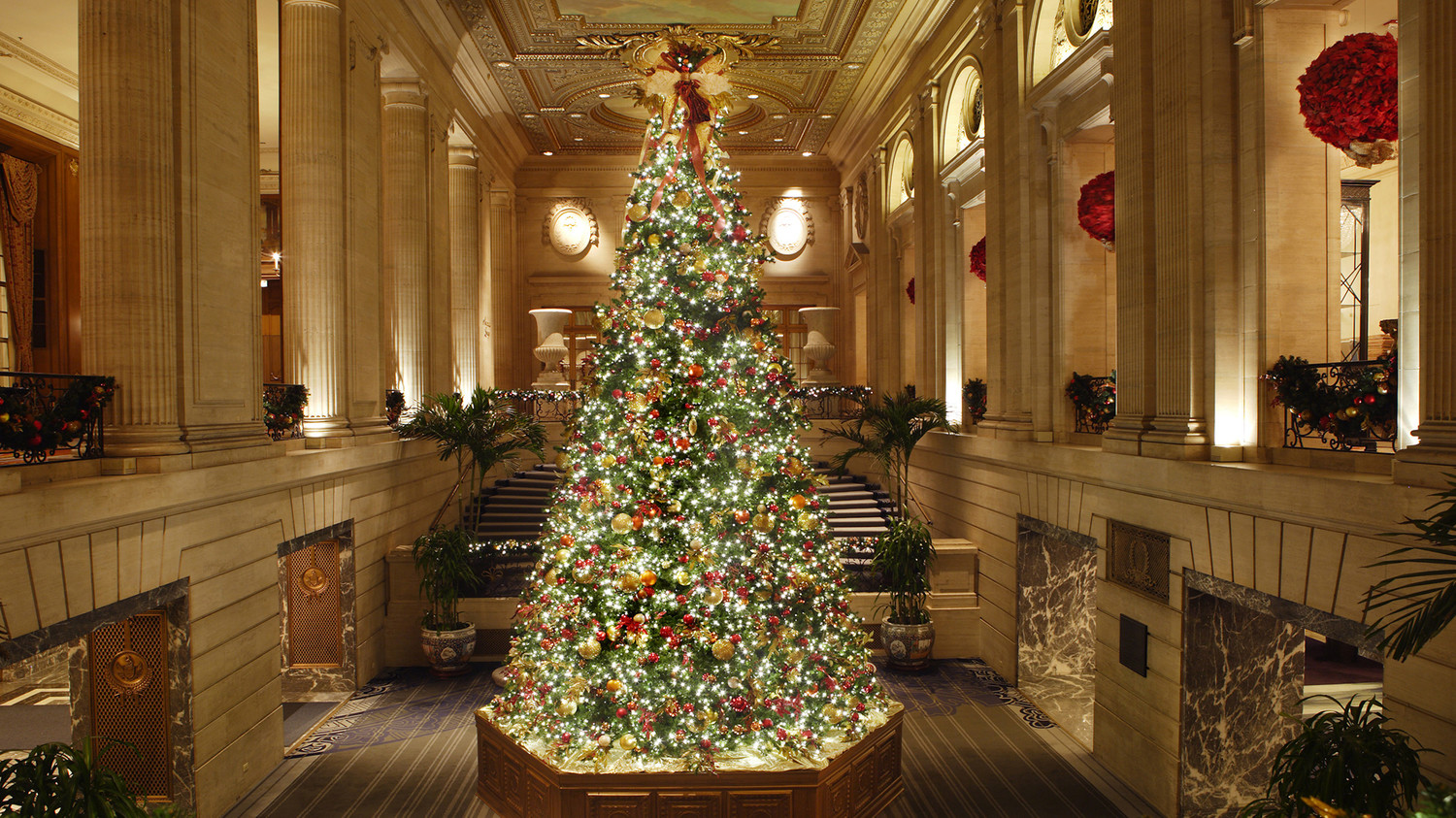 10 hotels with over the top holiday dcor martha stewart - Hotel Christmas Decorations