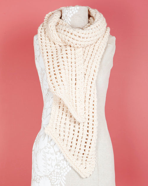 Lion Brand Wool Ease Thick And Quick Loom Knit Lacy Scarf Martha