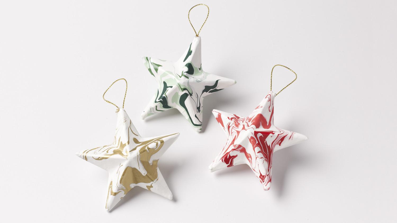 Marbleized Star Ornaments