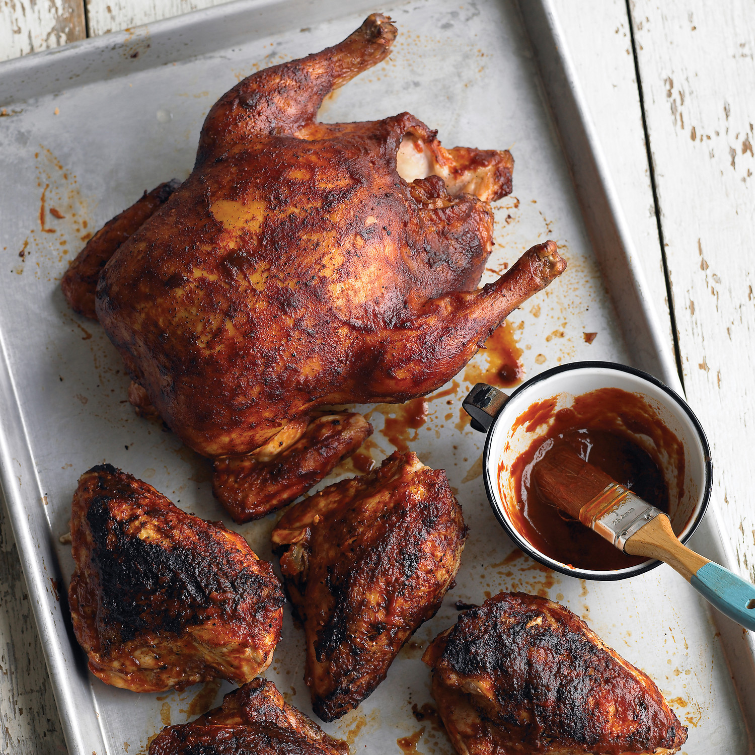 Grilled Whole Chicken With Barbecue Sauce