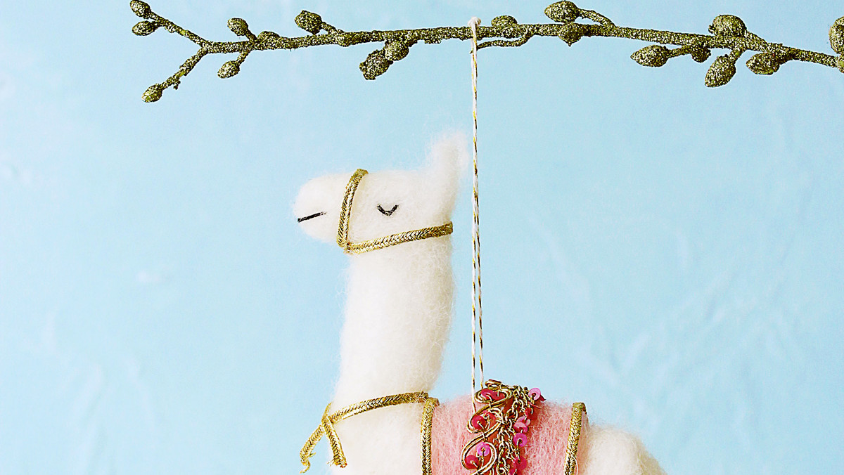 Needle-Felted Llama Ornament