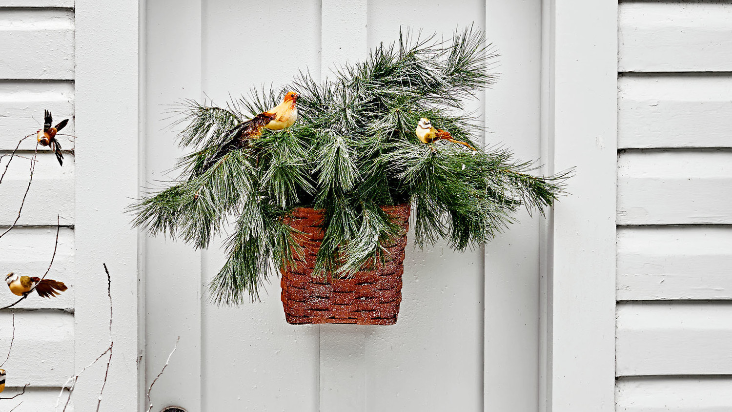 Hanging Basket with Winter Birds