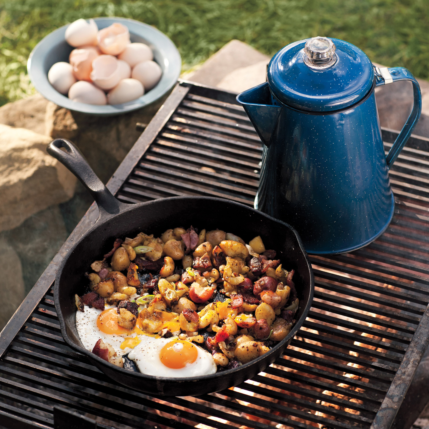 Campfire Fried Eggs With Potato And Bacon Hash