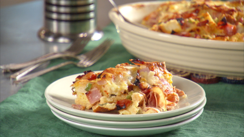 ham and cheese strata recipe video martha stewart - Cheese Egg Strata