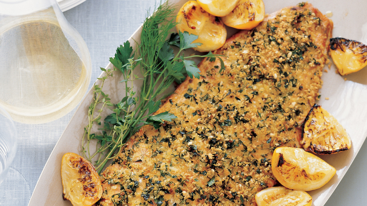 Herb Crusted Salmon With Roasted Lemons