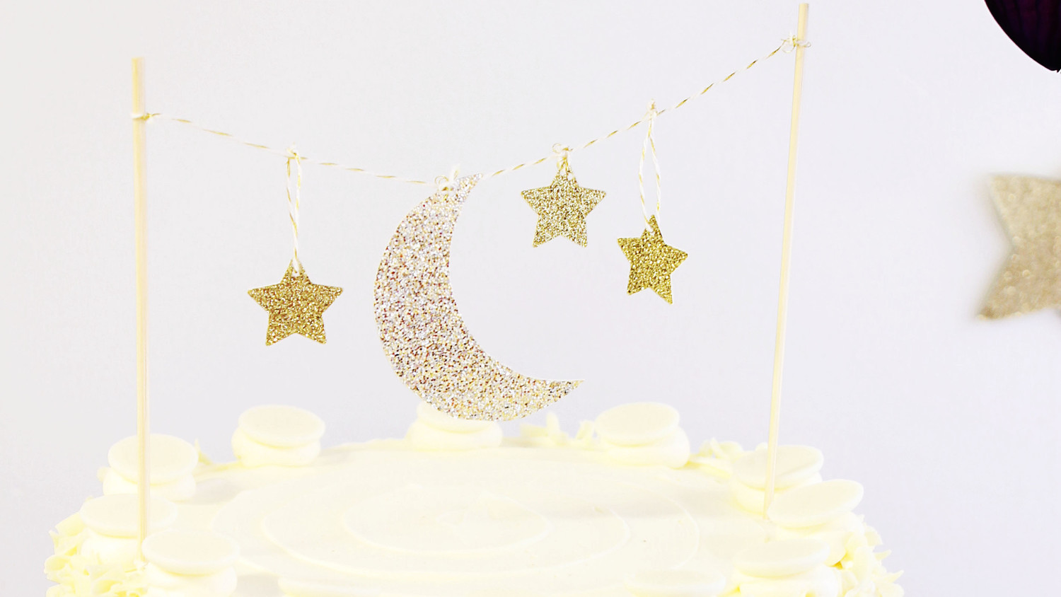 Crescent Moon and Stars Cake Topper