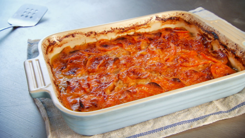 Scalloped Sweet Potatoes With Vidalia Onion And English