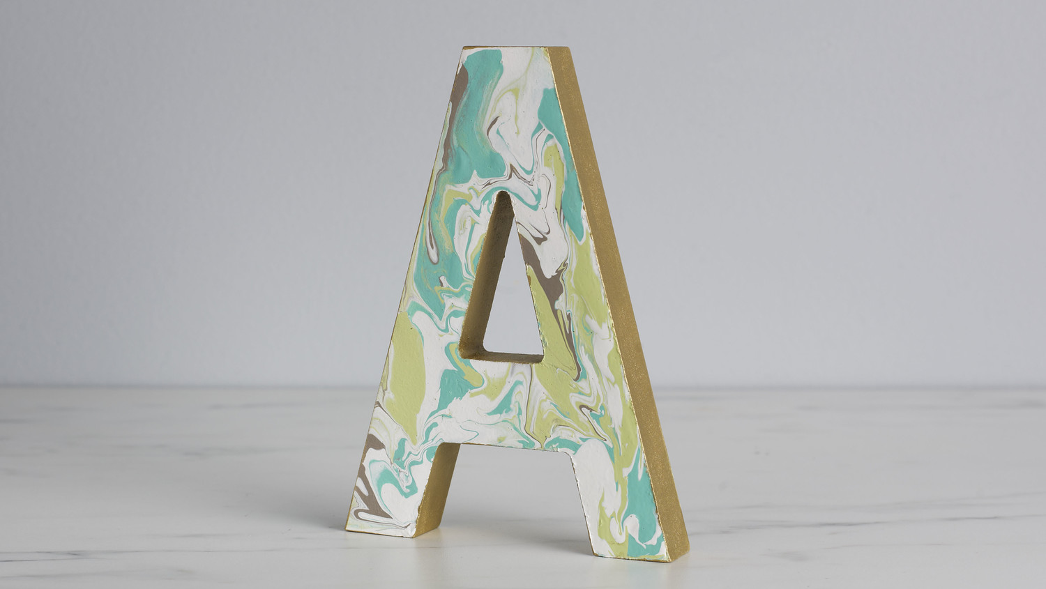 Marbleized Wooden Monogram