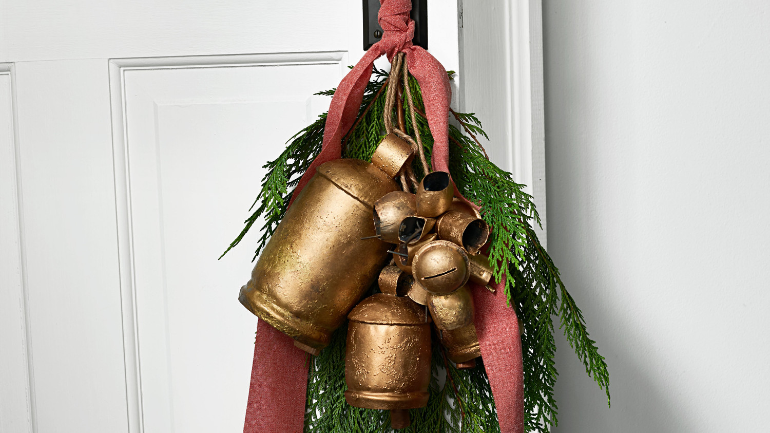 Cedar and Brass Bells Door Decoration