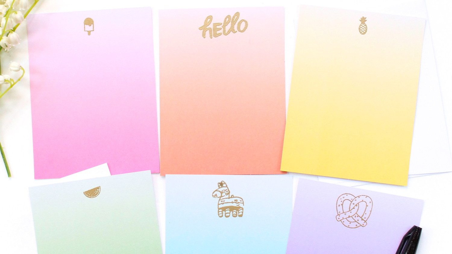 Gold Embossed Stationery