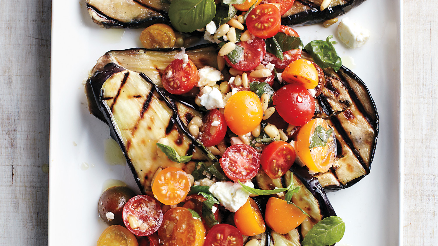 Grilled Eggplant With Tomatoes Basil And Feta