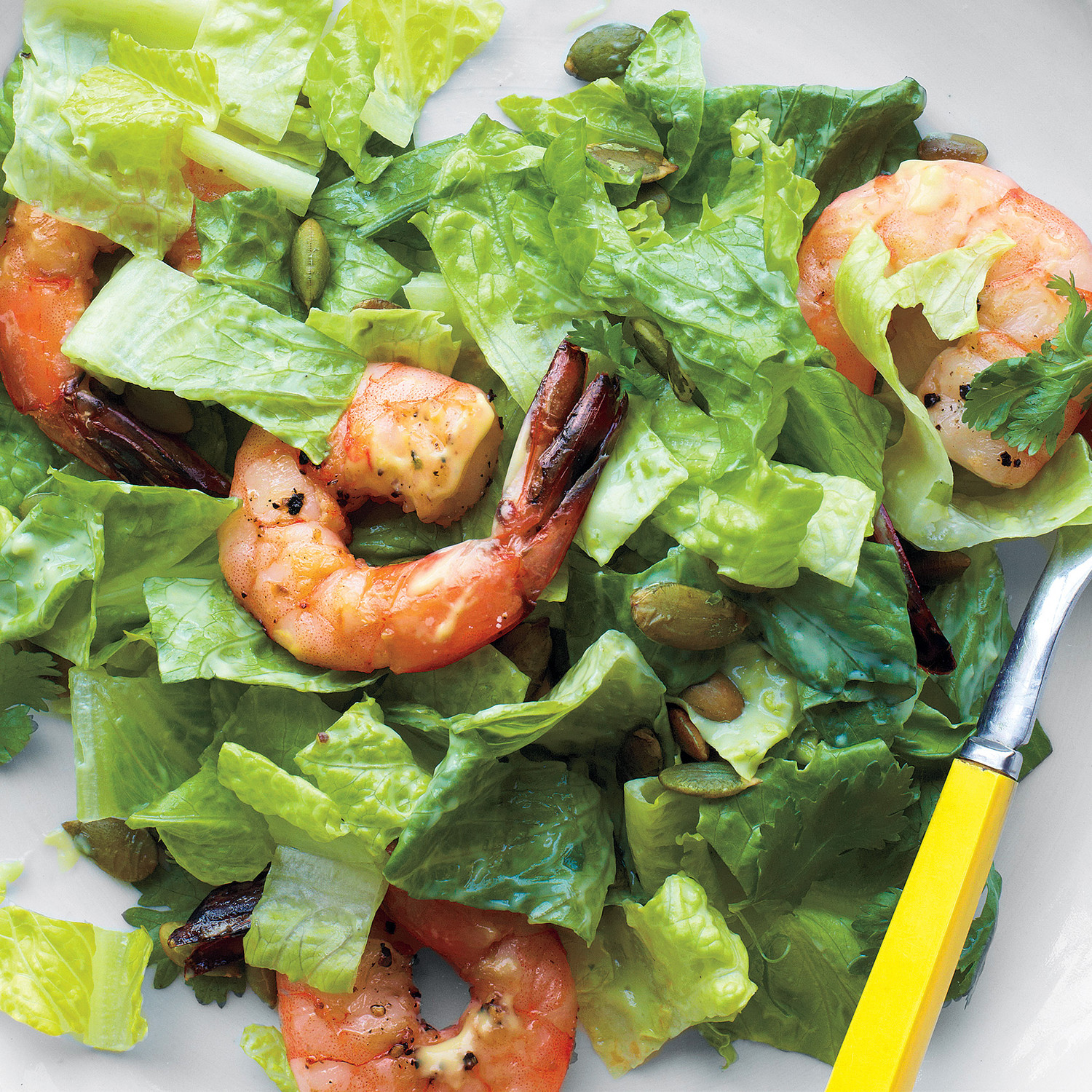 Salad with pineapple and chicken breast, shrimps, crab sticks 63