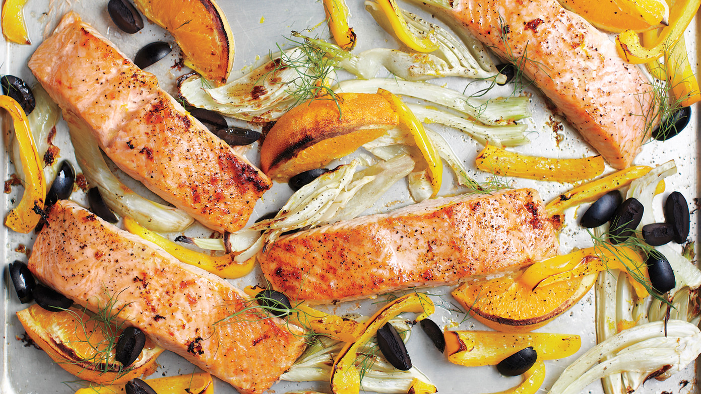 Salmon with fennel bell pepper and olives forumfinder Images