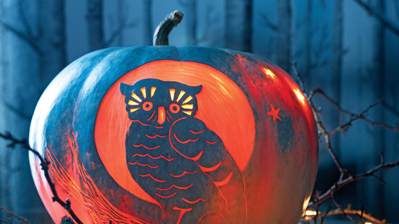 Night Owl Carved Pumpkin