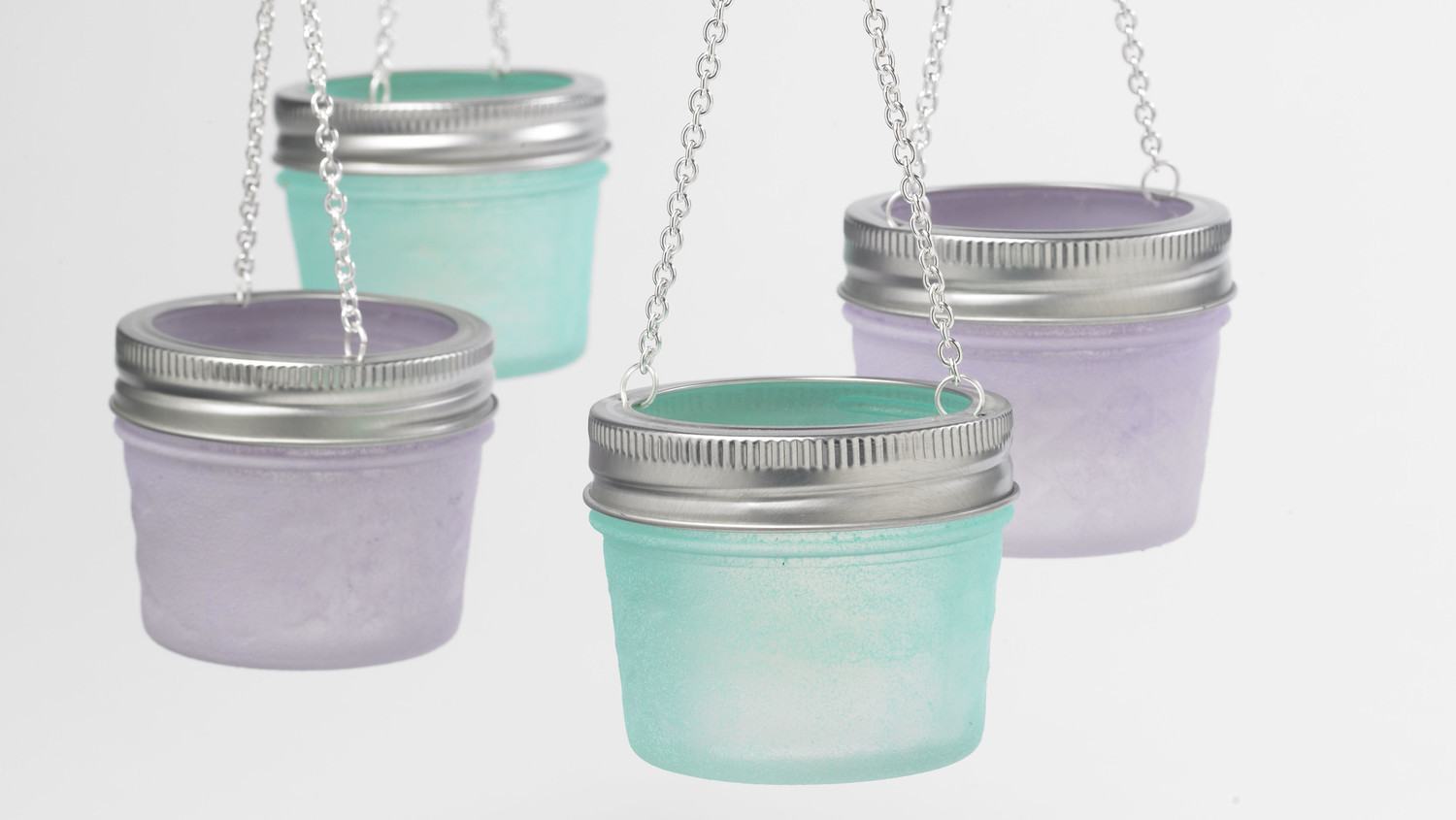 Sea Glass and Milk Glass Hanging Votives