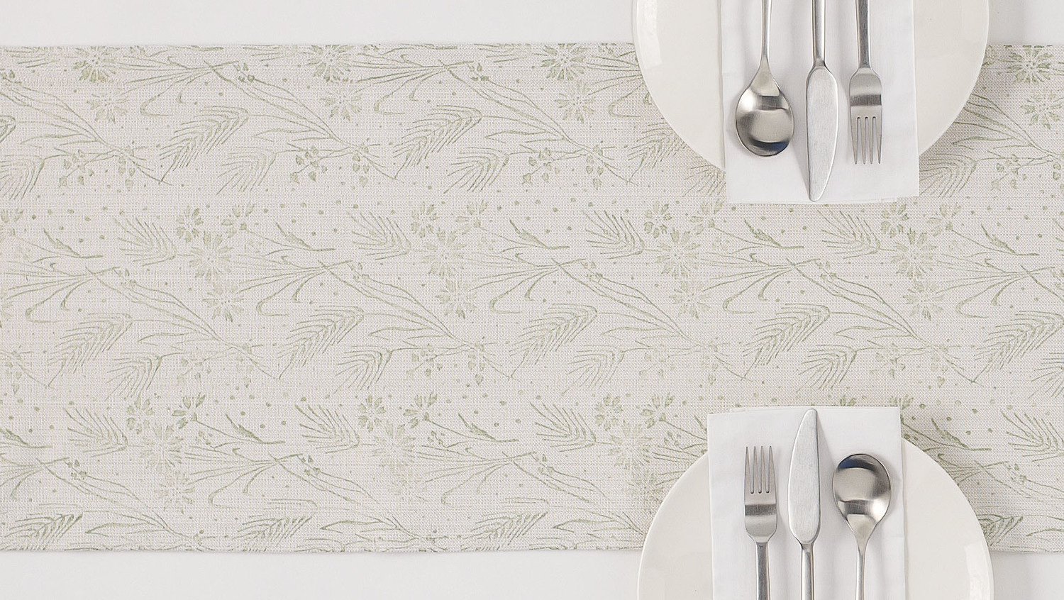 Floral-Wheat Patterned Table Runner