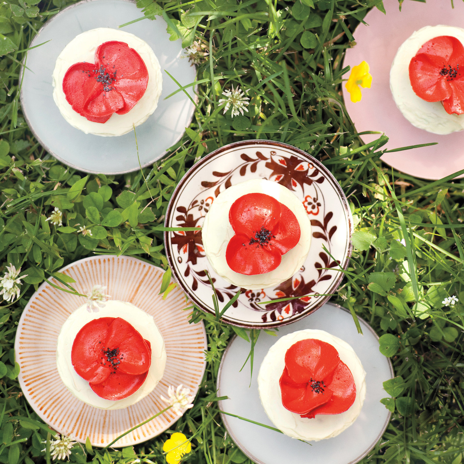 Orange Poppy Seed Cupcakes With Buttercream Poppies Recipe Martha