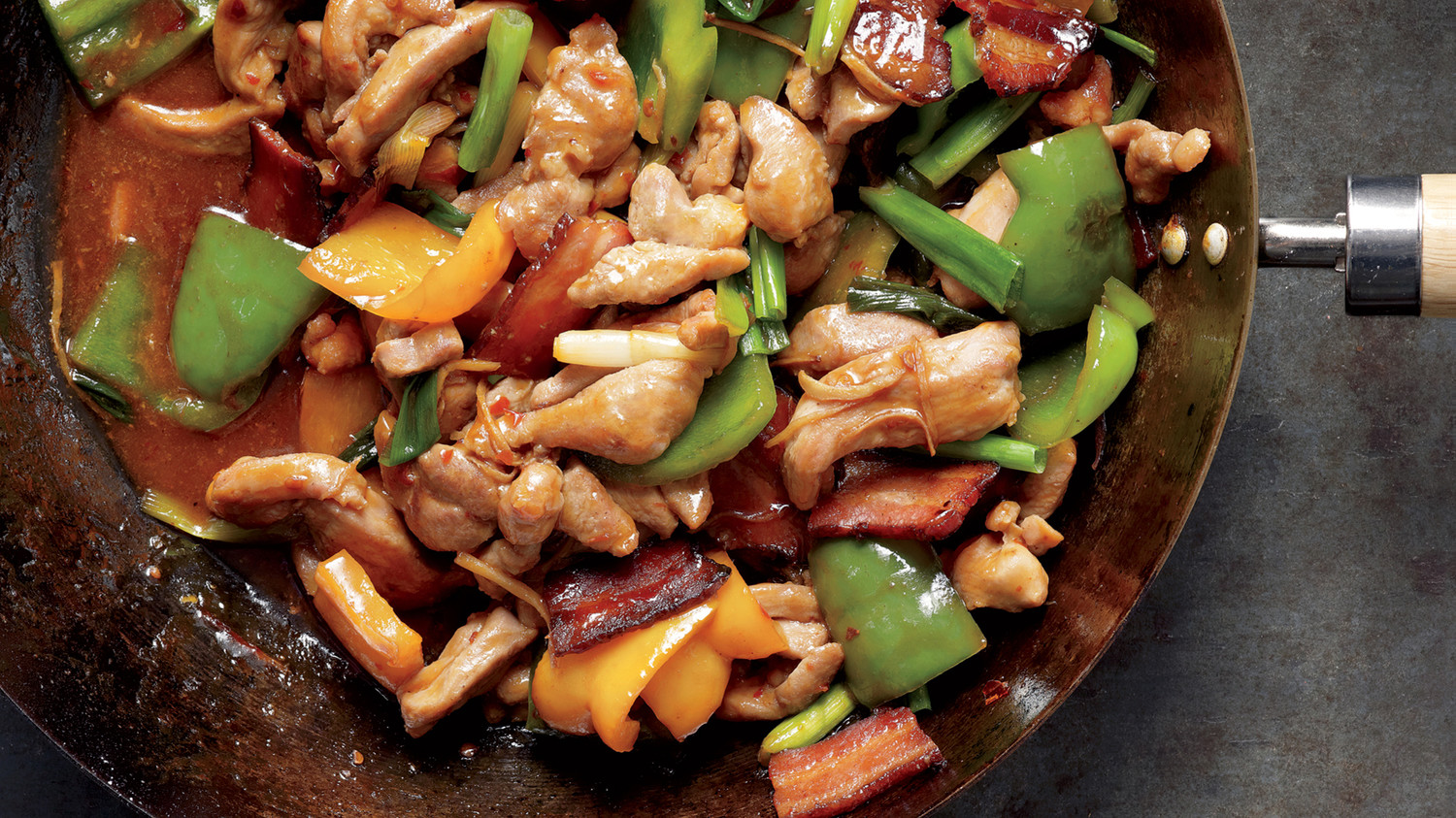 Spicy Turkey Thighs and Bacon Stir-Fry