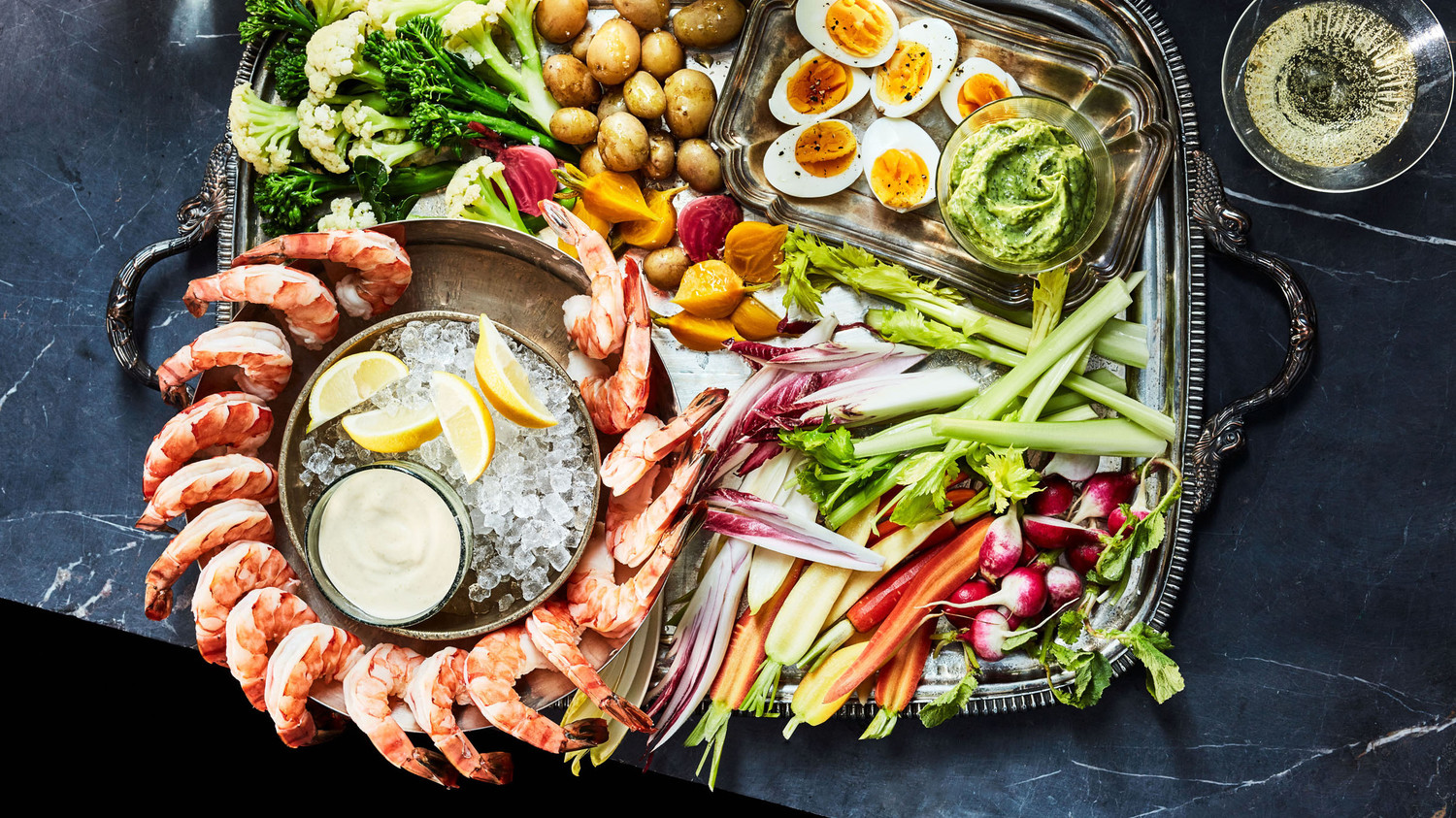 Shrimp And Crudite Platter With Two Sauces