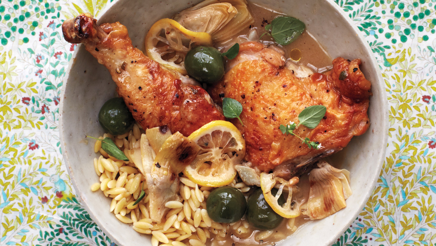 Braised Chicken With Artichokes Olives And Lemon Recipe