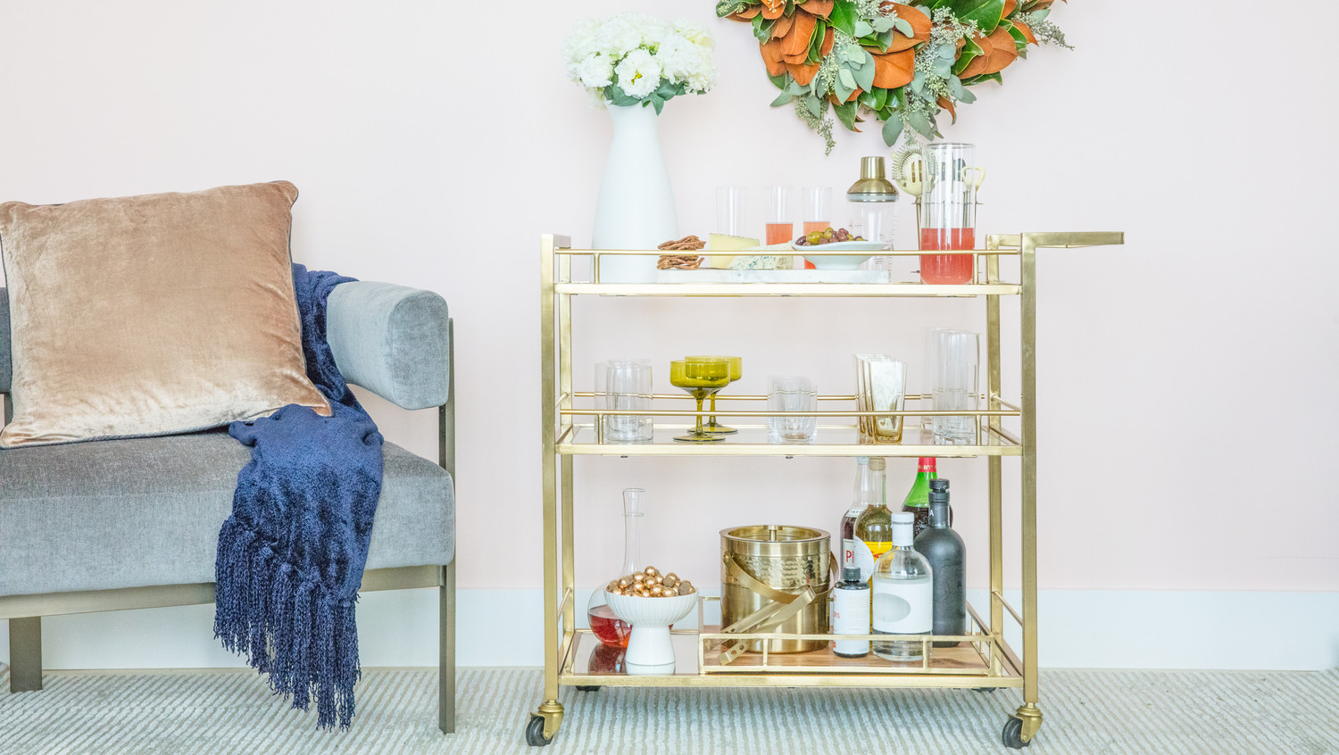 how to set up the perfect holiday bar cart martha stewart. Black Bedroom Furniture Sets. Home Design Ideas