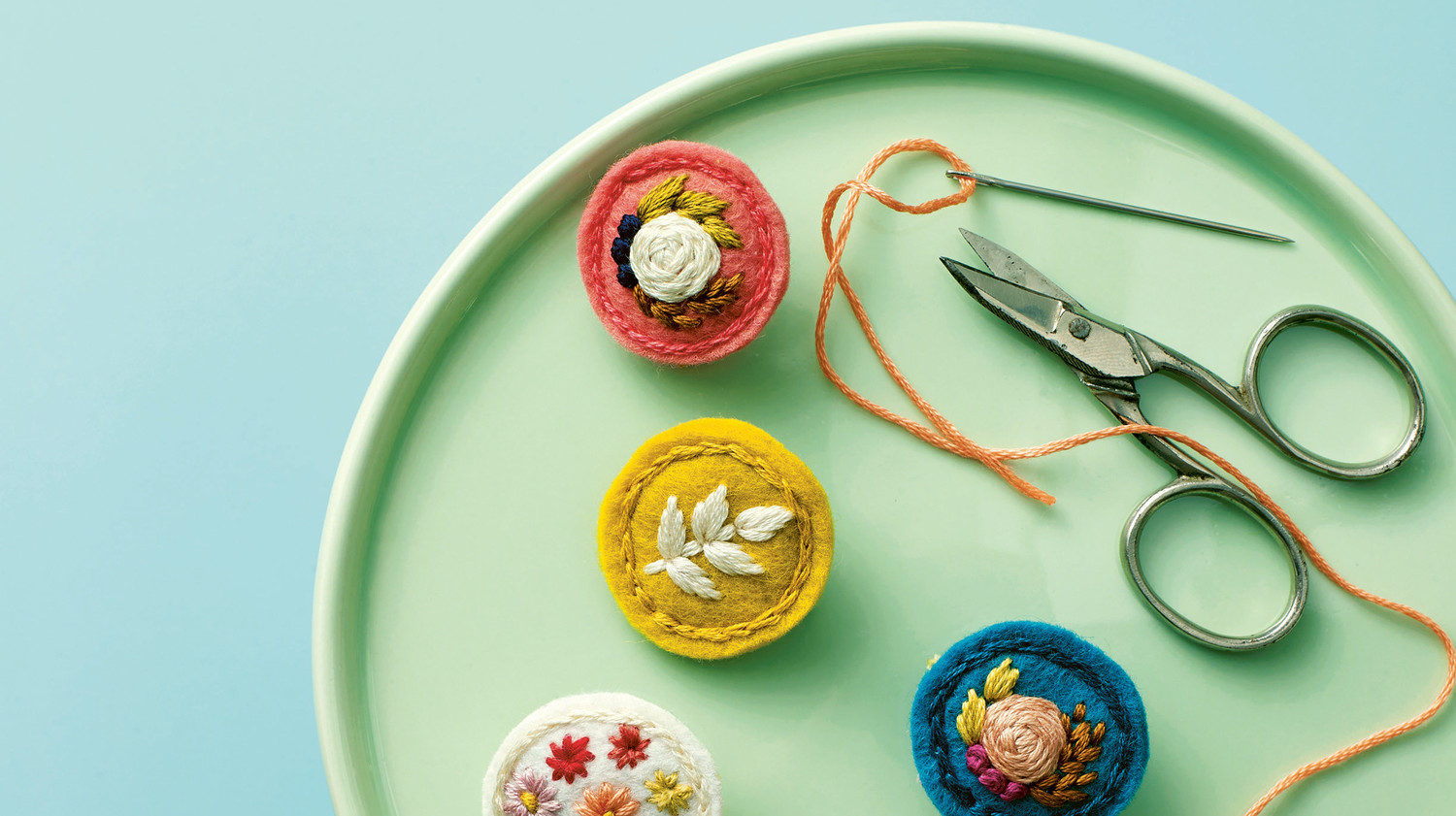 Floral Embroidered Felt Pins