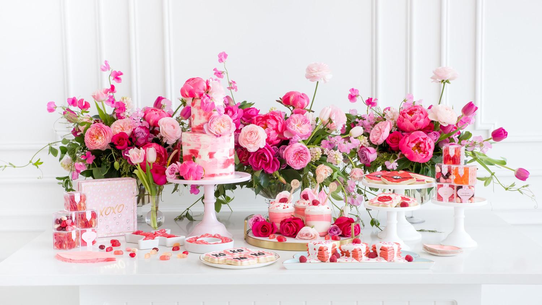 Galentine's Day pink brunch