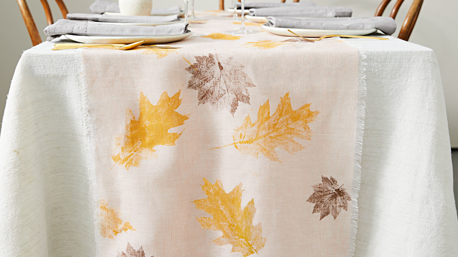 Leaf-Stamped Table Runner