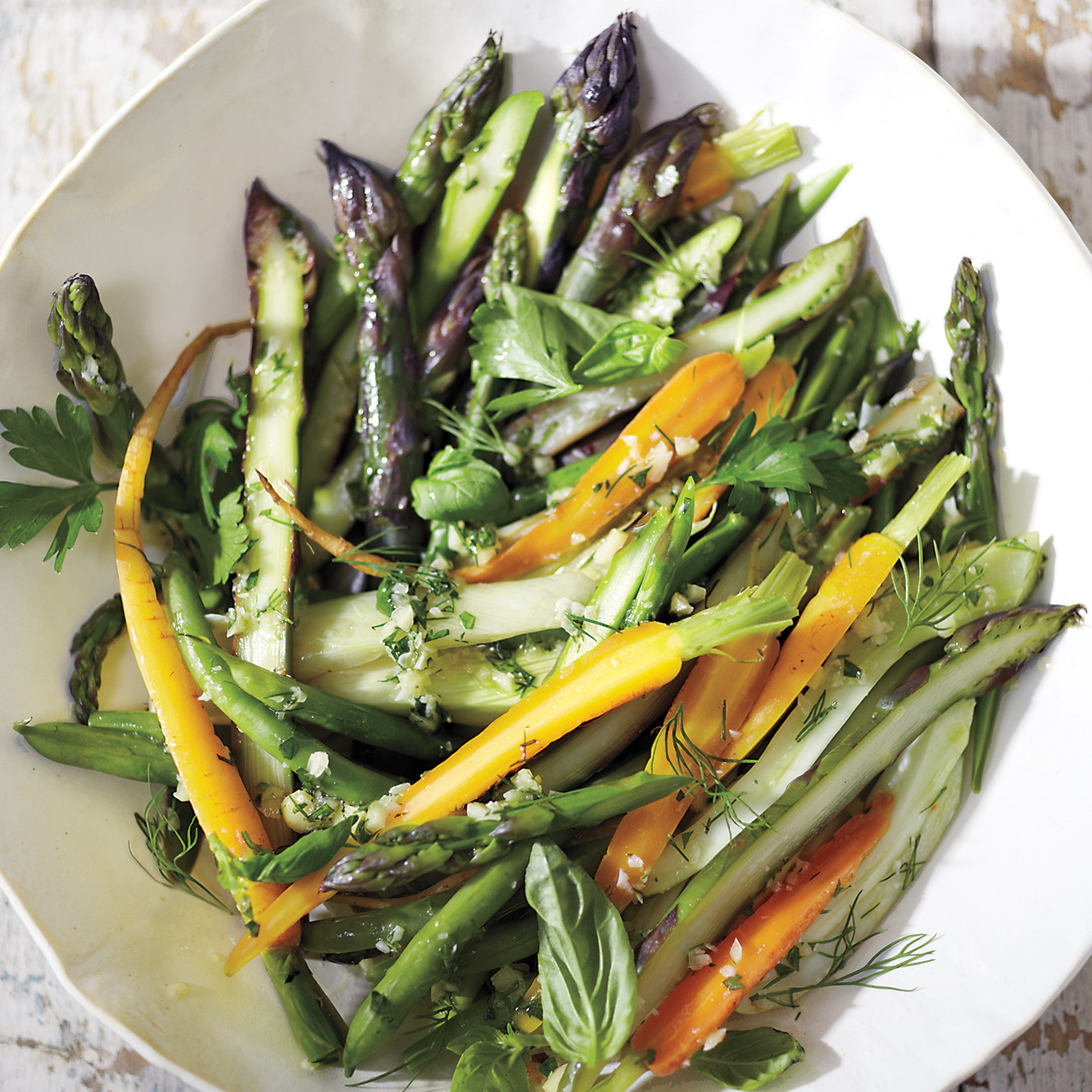 Steamed Vegetable Salad with Macadamia Dressing Recipe | Martha ...