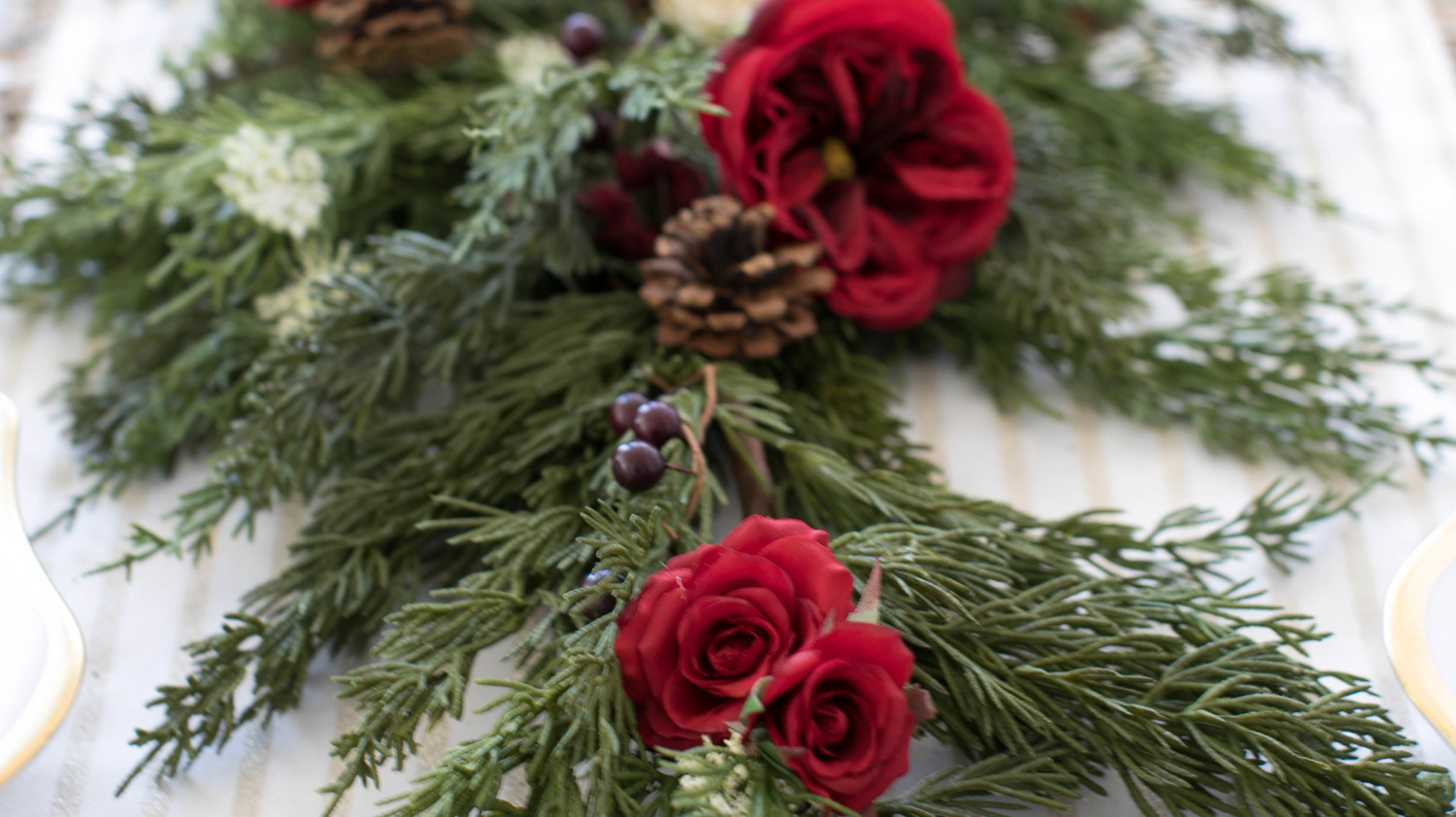 Holiday Greenery and Rose Garland