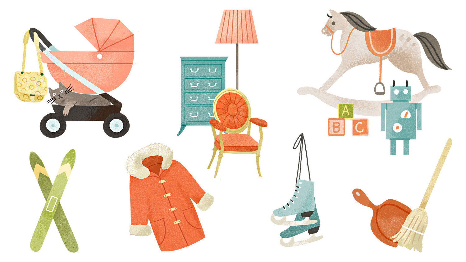 illustrations of household items broom coat toys